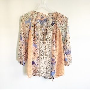 Peasant Floral Tunic Sheer Blouse